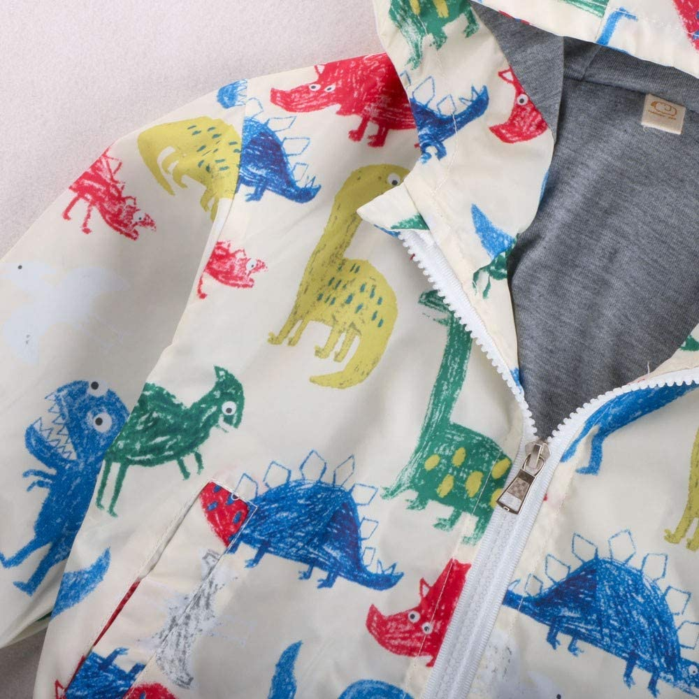 OUBAO Baby Coat Cute Design Childrens Long Sleeve Dinosaur Print Pocket Zipper Hooded Jacket Cardigan Trench Coat White