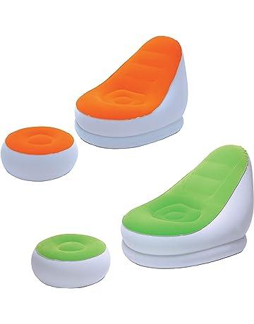 MovilCom® - Sillón con Puff reposapiés Hinchable Flocado | Multiuso Relax Descanso