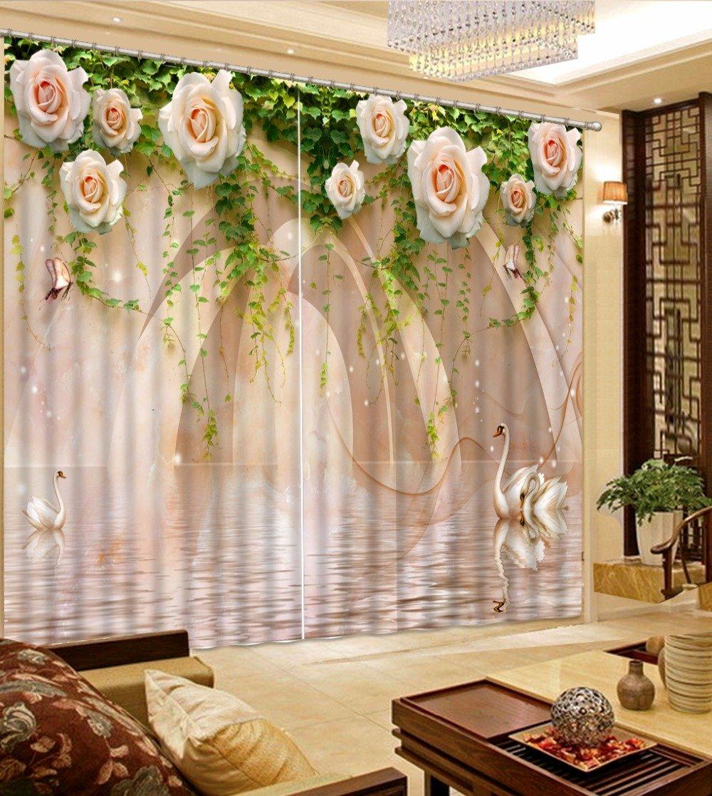 Waple Vorhänge 3D-Swan Blume Marmor Benutzerdefinierte Vorhänge Schlafzimmer Lichtundurchlässige Vorhänge Fenster Vorhänge  240X320CM