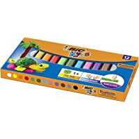 BIC Kinderklei, verschillende kleuren, 12 stuks, herbruikbare knutselklei, plasticine voor kinderen vanaf 1 jaar…