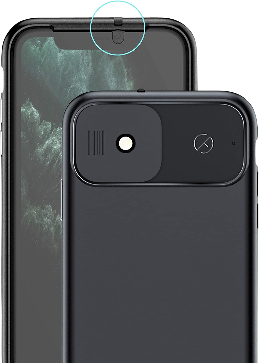 Spy-Fy iPhone 11 Case with Camera Covers Front and Rear | Protect Your iPhone and Privacy | 6-Foot Drop Proof | 6.1 Inch | Matte Black