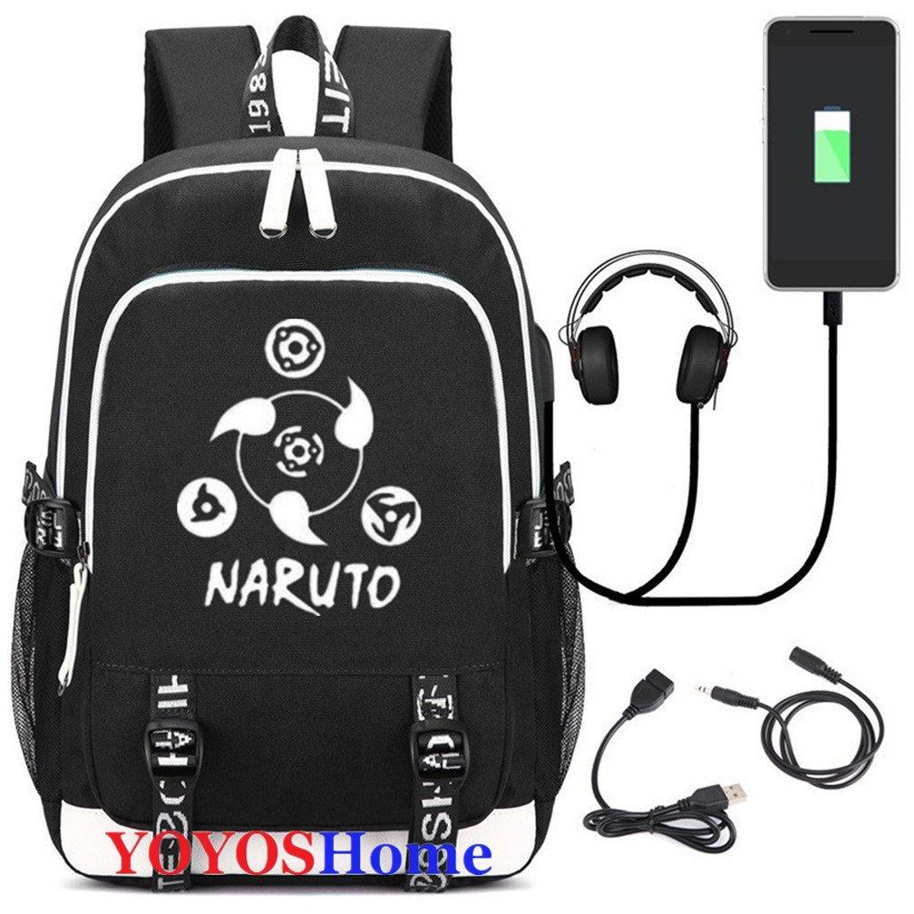 YOYOSHome Luminous Japanese Anime Cosplay Daypack Bookbag Laptop Bag Backpack School Bag with USB Charging Port (Naruto 3)