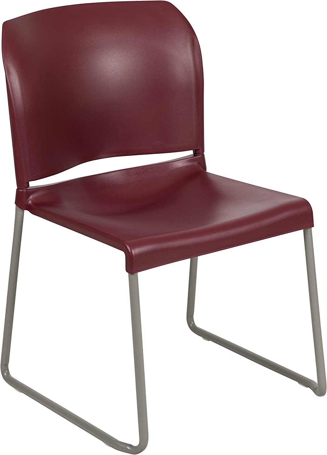 Flash Furniture HERCULES Series 880 lb. Capacity Burgundy Full Back Contoured Stack Chair with Gray Powder Coated Sled Base