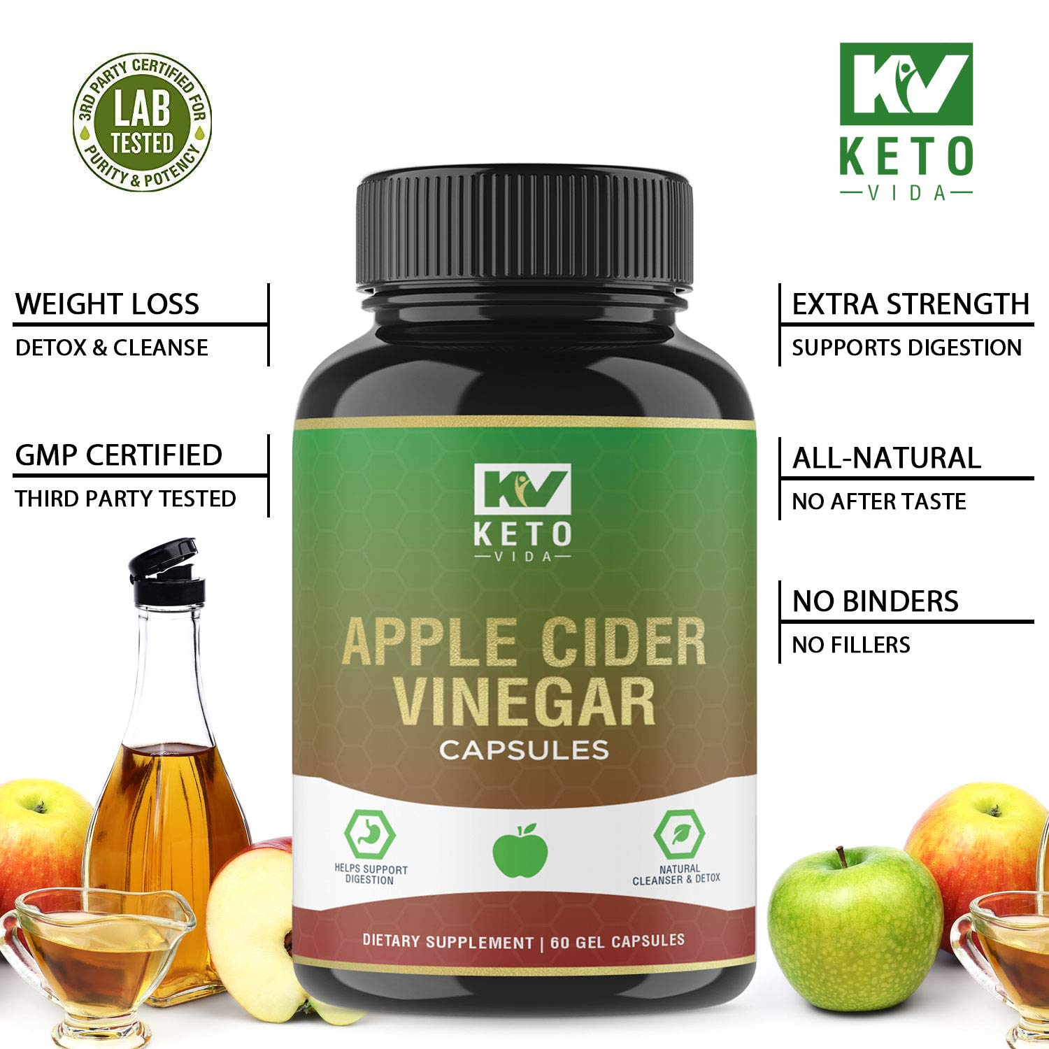 Apple Cider Vinegar Pills - Natural Detox and Weight Loss for Women and Men, Effective Cleanse to Help Digestion and Bloating Relief, Organic Extra Strength ACV Capsules by Keto Vida (Image #6)