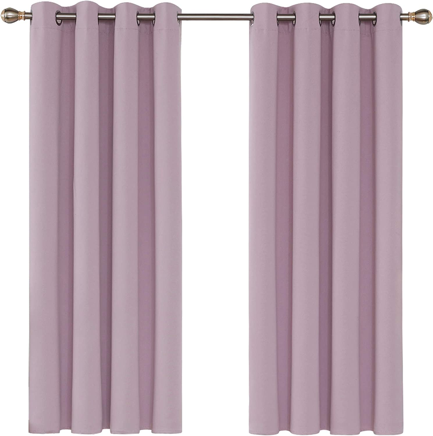 Deconovo Nursery Blackout Curtains for Bedroom Girls Eyelet Thermal Insulated Blackout Curtains 46 x 54 Inch Pink Lavender 2 Panels W46 x L54 Pink Lavender