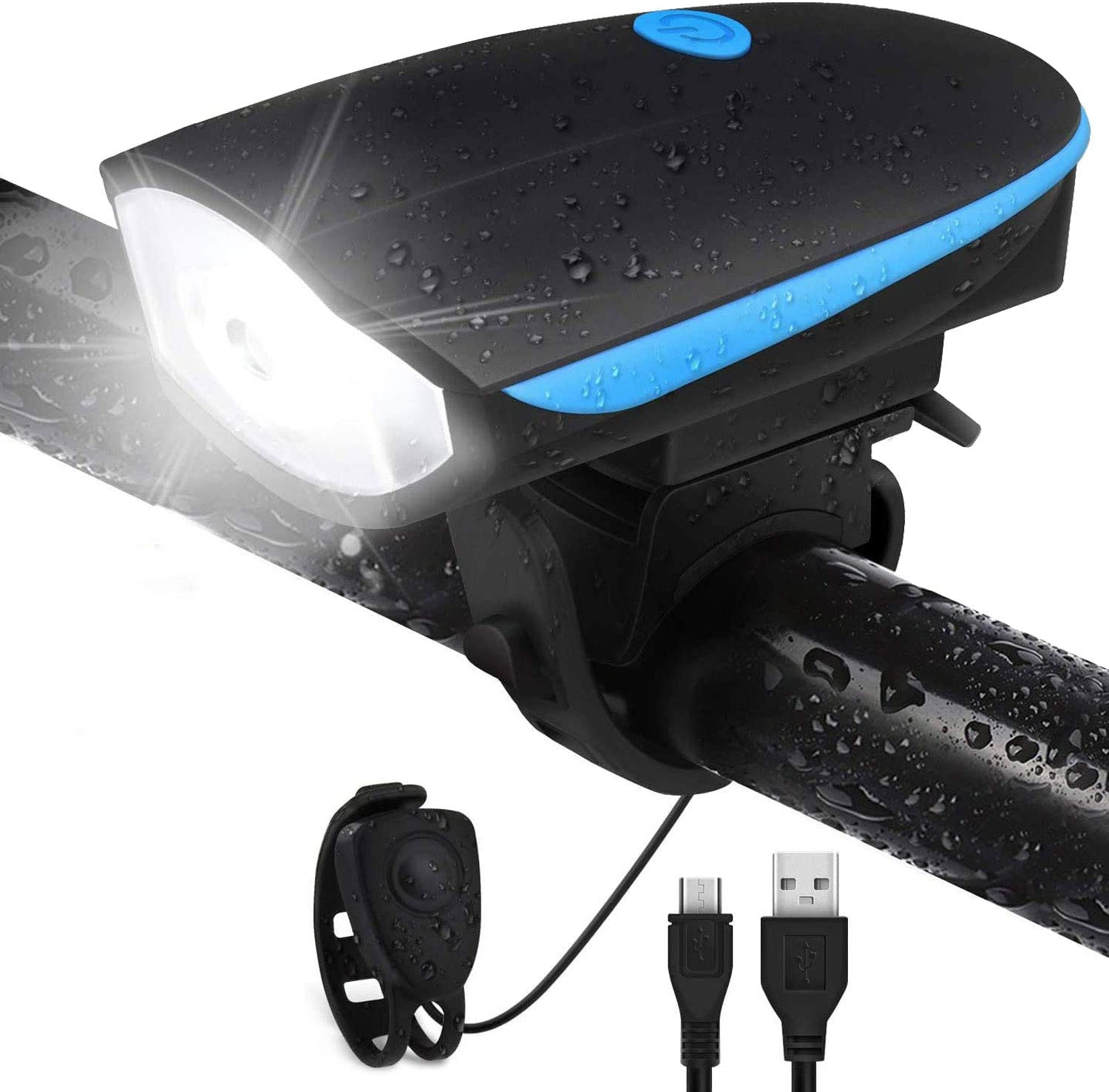 USB Rechargeable LED Bike Headlight Cycling Bicycle Front Light With Bell Horn