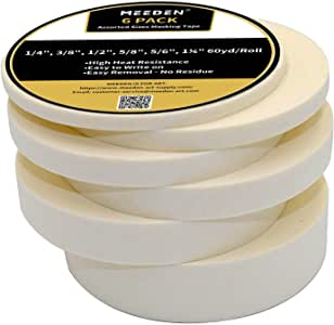 MEEDEN Masking Tape White, 0.23/0.35/0.47/0.59/0.79/1.18 Inch×55Yard, 6 Rolls Assorted Sizes Strong Masking Tape, Each 55 Yard Roll General Purpose for Labeling, Painting, Packing and More