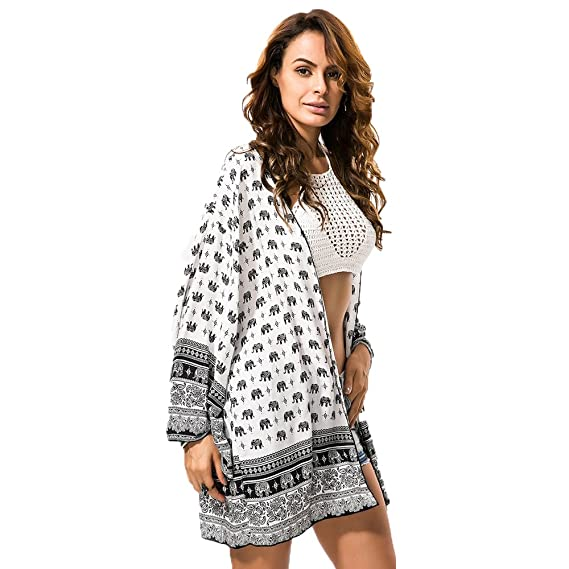 fc5726755a Viva Fancy Women's Bohemia Summer Chiffon Kimono Cardigan Blouse Beach  Cover up Elephant Prints