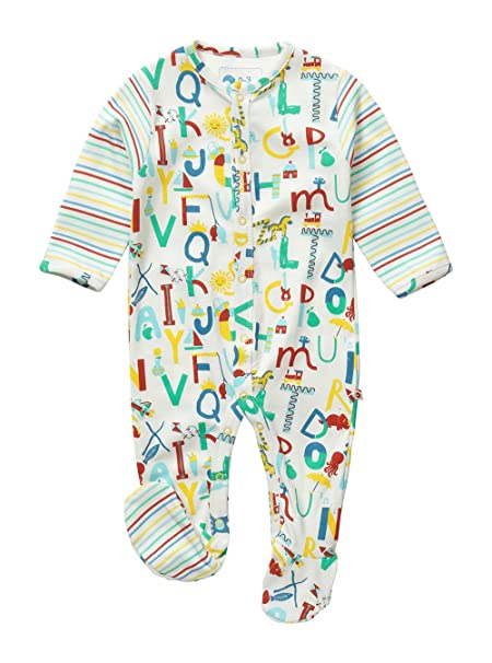 Piccalilly Mameluco con pies, Jersey orgánico Algodón, Unisex, bebé, Alfabeto