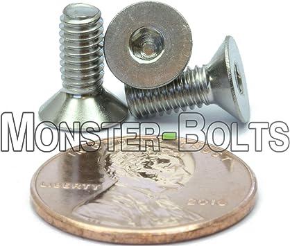 Quantity 25 By Fastenere Stainless Steel A2-70 Plain Finish Full Thread Allen Socket Drive M8-1.25 x 25MM Flat Head Socket Cap Screws Din 7991 Flat Point