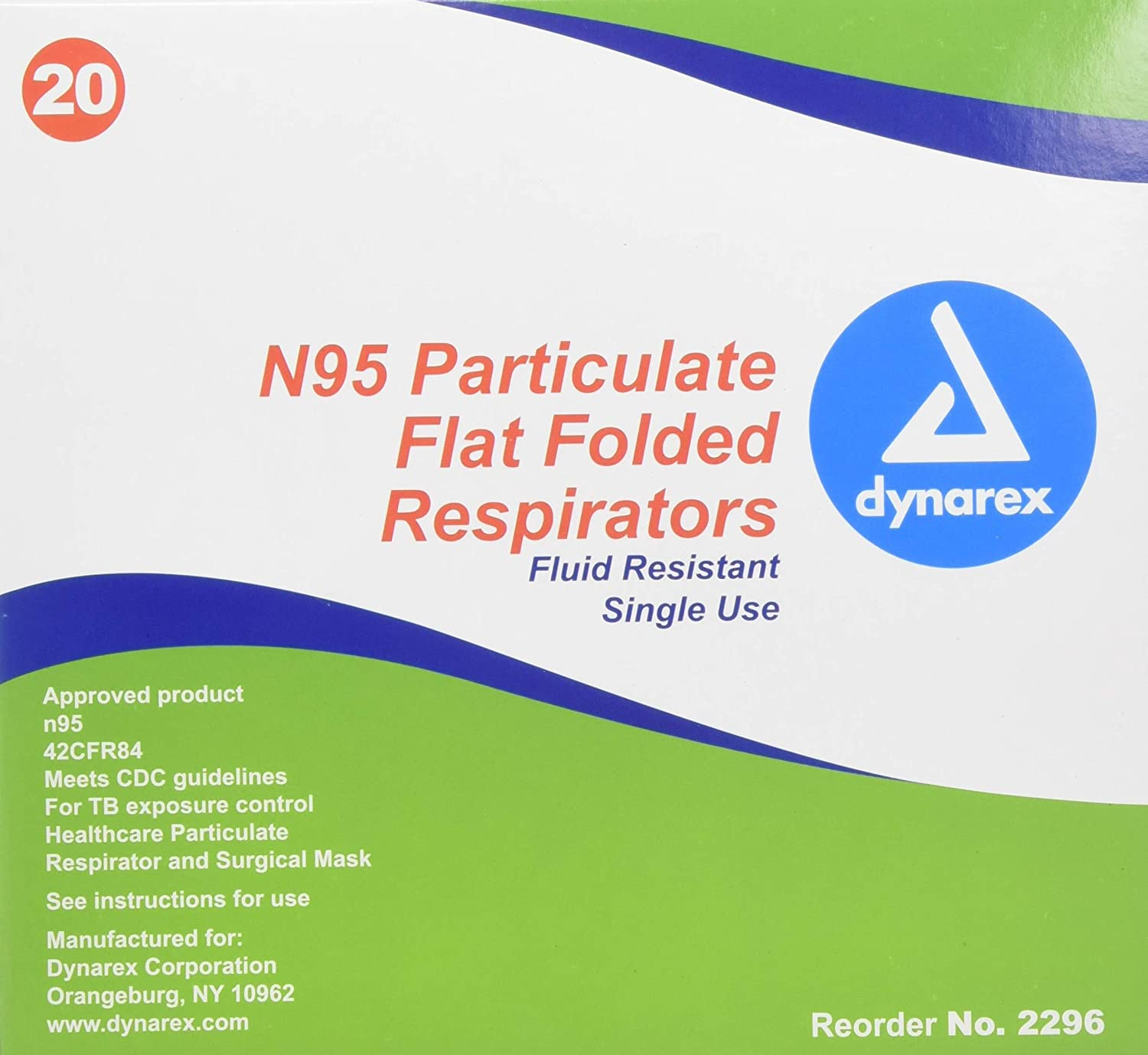 20 Particulate Amazon Box Flat Of N95 Mask Respirator Folded