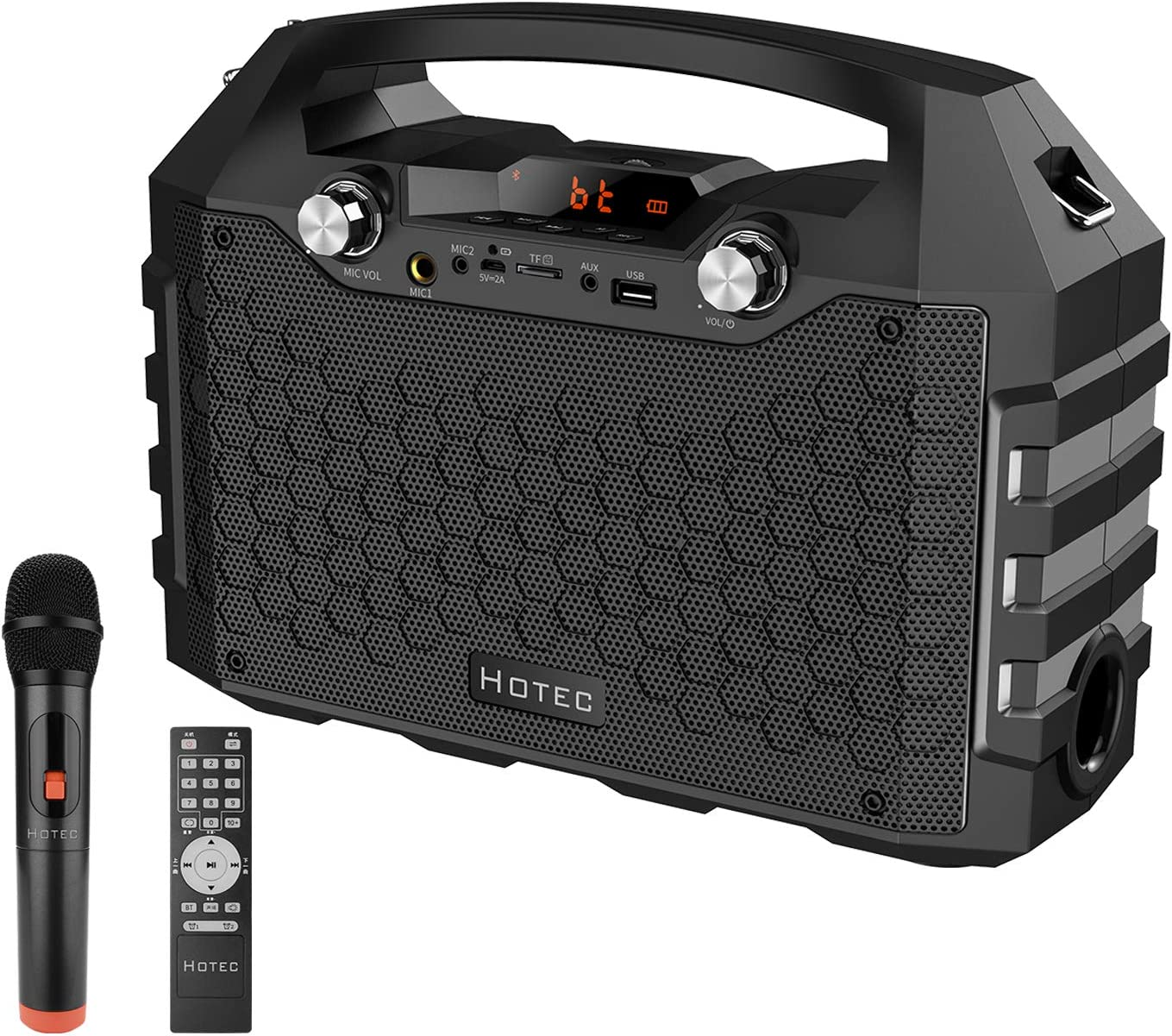Hotec Wireless Portable PA Speaker System, Powerful Bluetooth Karaoke Machine with Wireless Microphone for Wedding, Party, Teaching, Karaoke, other Outdoor and Indoor Activities