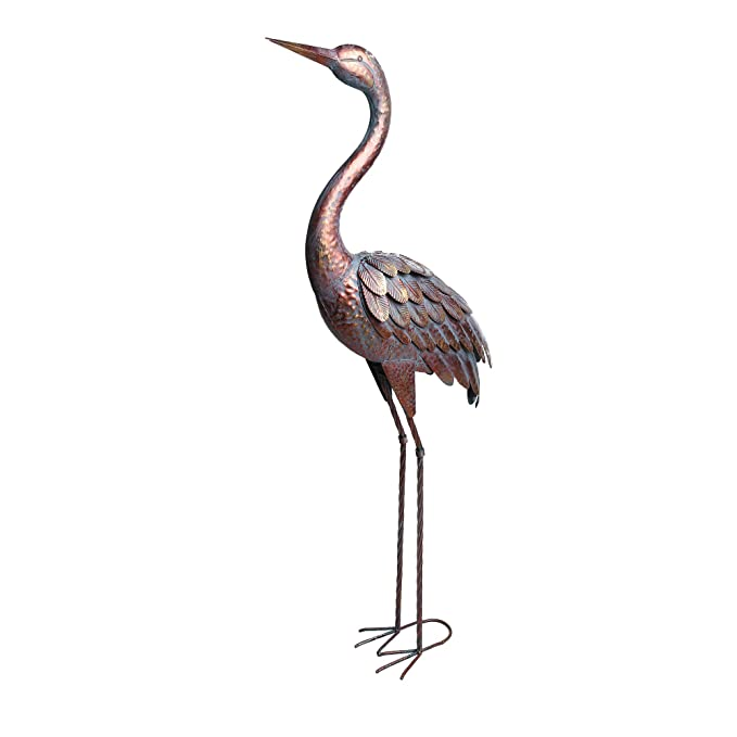 Kircust Garden Statues and Sculptures Metal Heron Decoy, Standing Patina Crane Yard Art for Outdoor Patio Lawn Decoration, 48-Inch High