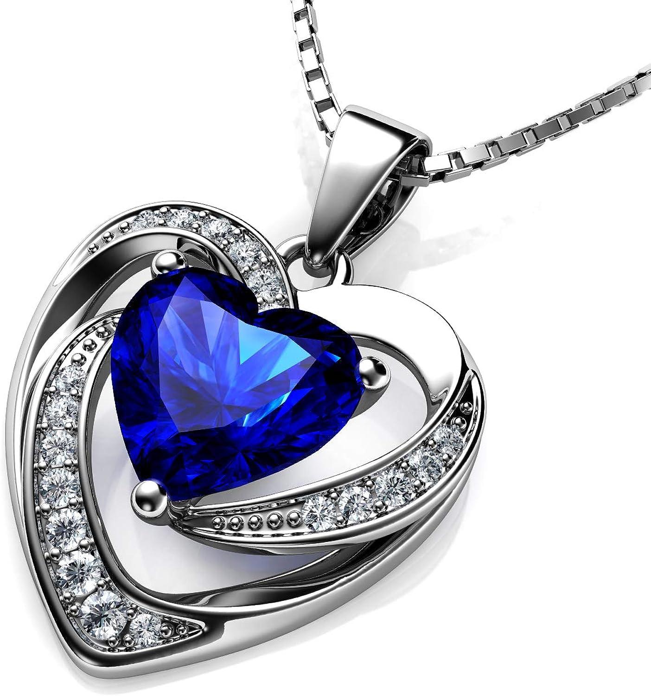 DEPHINI - Collar con colgante de corazón de plata de ley 925 con circonita blanca y piedra natal azul adornada con cristal de Zirconia para mujer