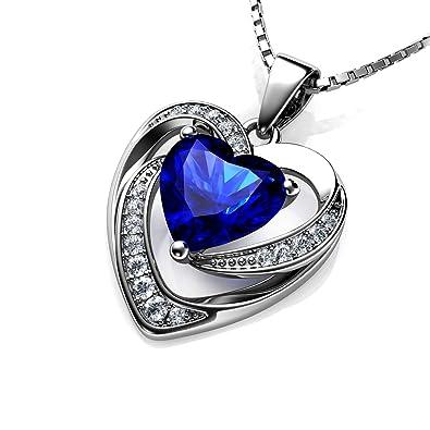1e0ec3aa9aa3 DEPHINI Halskette mit Herz-Anhänger 925 Silber mit weißen Zirkonia und  blauen Geburtsstein verziert mit Zirkonia-Kristall für Damen, 45,7 cm lange  Kette + ...