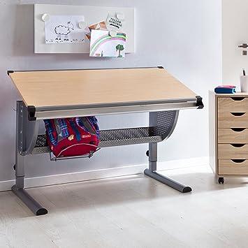 Wohnling Design Kinderschreibtisch Maxi Holz 120 X 60 Cm Buche | Mädchen  Schülerschreibtisch Neigungs Verstellbar