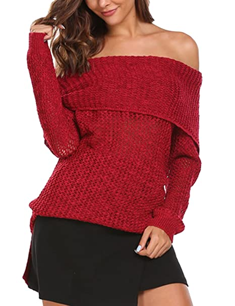 d62fb2b2fa8 Image Unavailable. Image not available for. Color  Womens Sexy Off Shoulder  Long Sleeve Mini Pencil Bodycon Knitted Sweater Dress ...