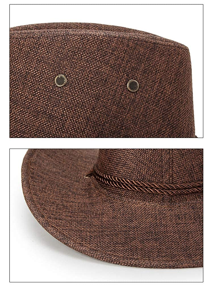 BOGIWELL Mens Faux Felt Western Cowboy Hat Outdoor Wide Brim Hat with Chin Strap
