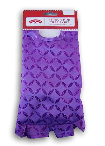 holiday time purple glittery miniature christmas tree skirt 18 inch