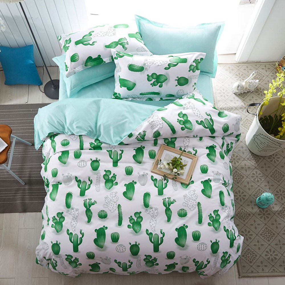 hxiang simple cactus bedding childrens cartoon duvet cover set girl bedding set 1 duvet cover2 pillowcases full green - Cactus Bedding