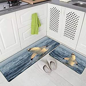 "Musesh 2 Pieces Kitchen Rugs and Mats Non Skid Washable Great White Shark in Attack on Seal South Africa Carcharias Kitchen Rug Set 17""X48""+17""X24"" Kitchen Carpets and Rugs Modern Kitchen Rug"