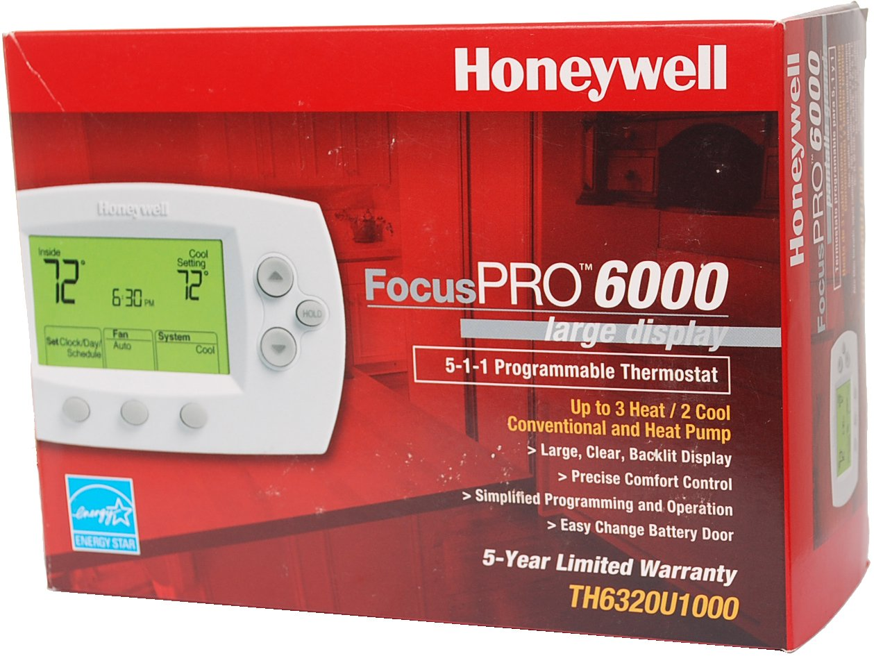 Honeywell th6320u 1000 Focu Spro 6000 5 + 1 + 1 Day Programmable Termostato - Large Screen, 3h/2 C, Auto C/O, Dual Powered By Honeywell: Amazon.es: ...