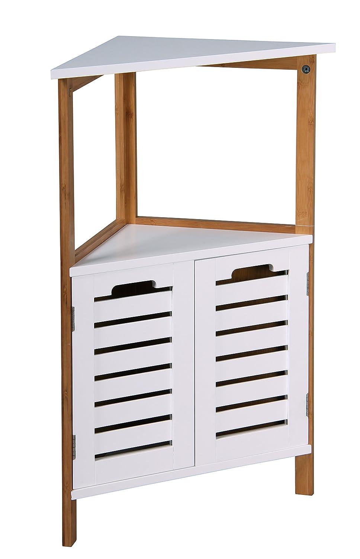 """"""" Bambus"""" Bamboo Bathroom Free Standing Shower Floor Corner Caddy Tidy Organiser Shelves"""
