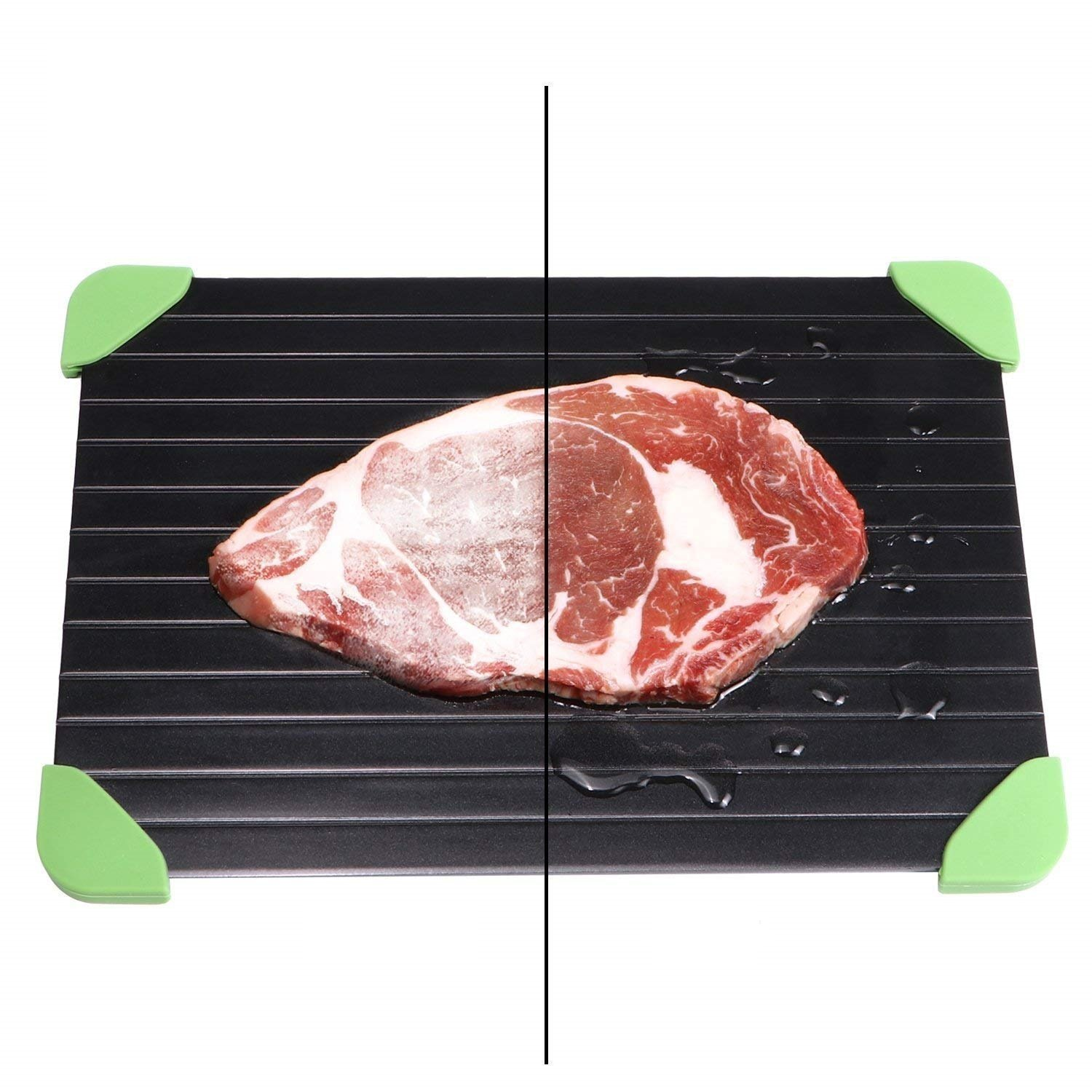 Quick Thaw Defrost Tray for Meat with Green Silicone Corner pad, Magic Thaws Frozen Food No Electricity Microwave Non-Slip SANLINKEE