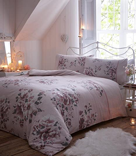 Rosebud Luxury 100/% Brushed Cotton Thermal Flannelette Duvet Cover Bedding Set