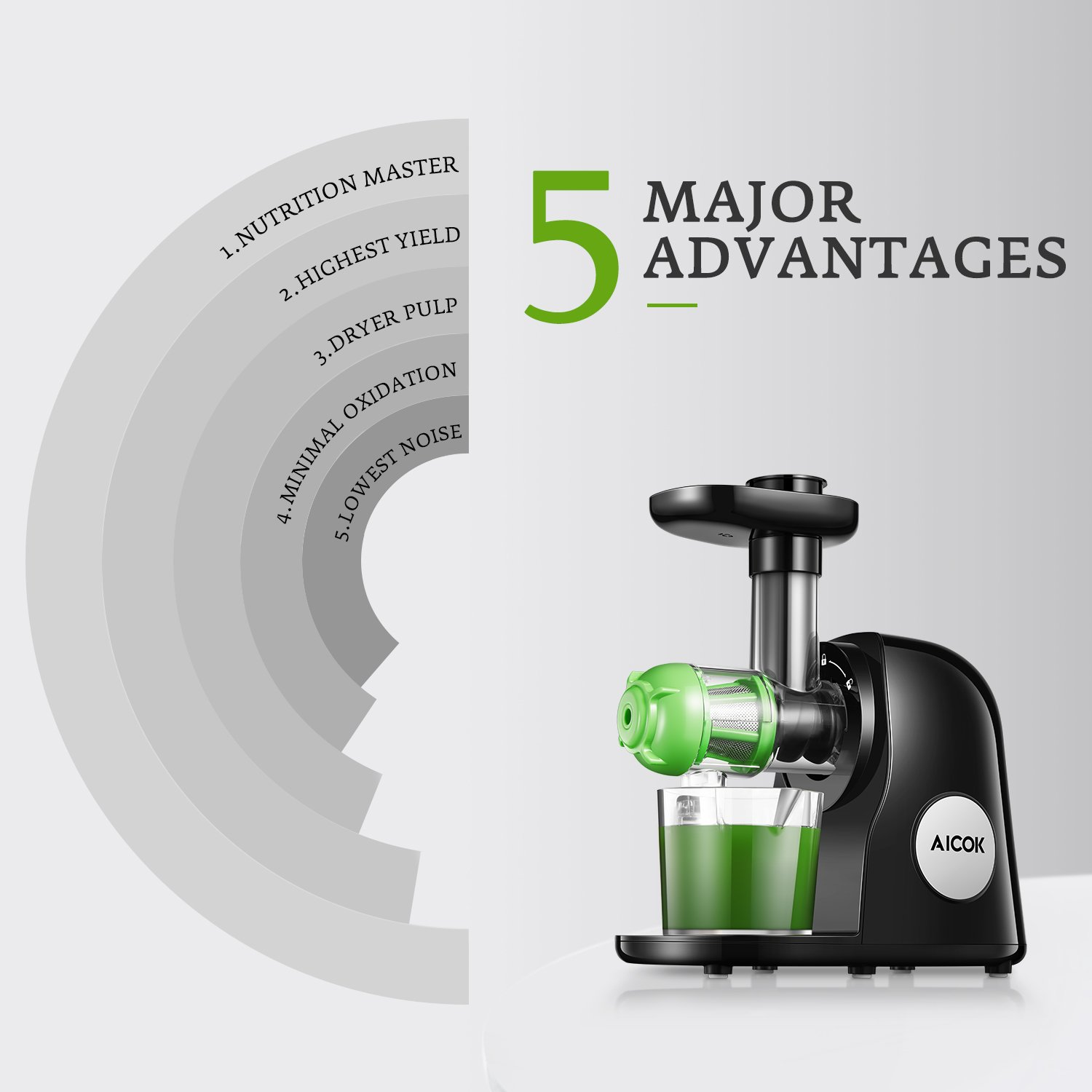 Juicer Masticating Slow Juicer Extractor, Aicok Juice Quiet Motor & Reverse Function, BPA Free, Cold Press Juicer Easy to Clean with Brush, Juice Machine Recipes for Vegetables and Fruits by AICOK (Image #2)