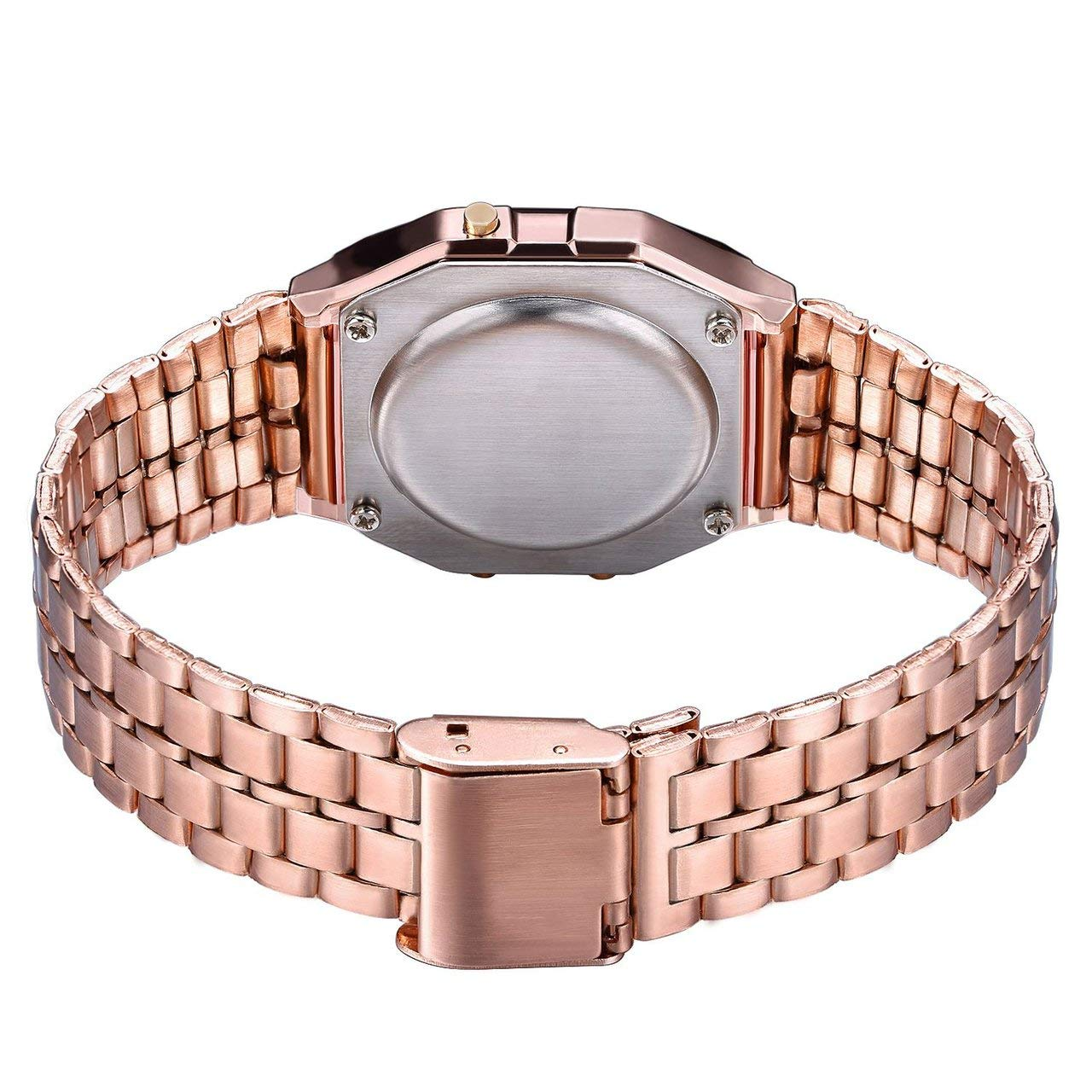 fFRtprintse Mode Vintage LED Num/érique Montre en Acier Inoxydable Bracelet en Alarme Montre-Bracelet Robe Business Montre-Bracelet pour Hommes Femmes