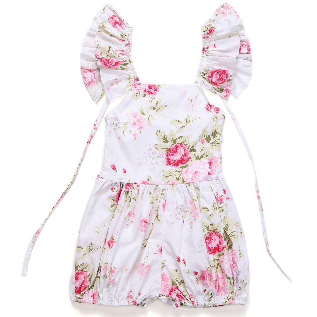 Flofallzique Vintage Floral Toddler Jumpsuits Baby Girl Rompers Kid Summer Clothing FLOJU5