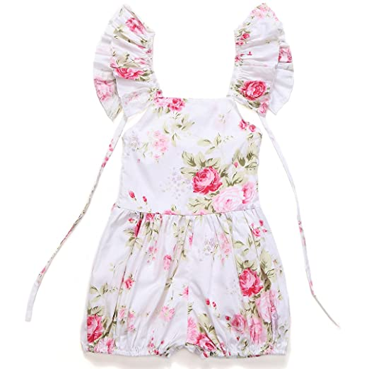 6fd2758d6 Flofallzique Baby Girls Overalls Floral Ruffle Toddler Rompers Summer  Bodysuits(1) White