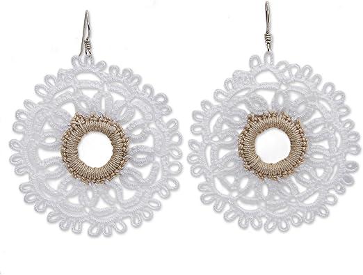 Silver plated earrings Crochet earrings Rose earrings Red earrings Silver drop earrings Love earrings Pearl earrings Gift For Her Unique