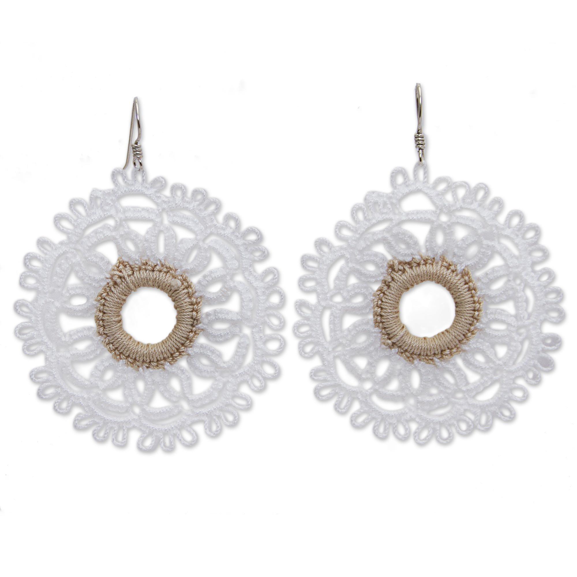 NOVICA Crochet Cotton Dangle Earrings with .925 Sterling Silver Hooks 'White Doily'