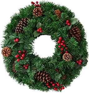 LSZ 40/50/60cm Christmas Wreath Door Hanging Home Garden Party Decoration DIY Ornament Nativity Décor (Color : B, Size : 80cm)