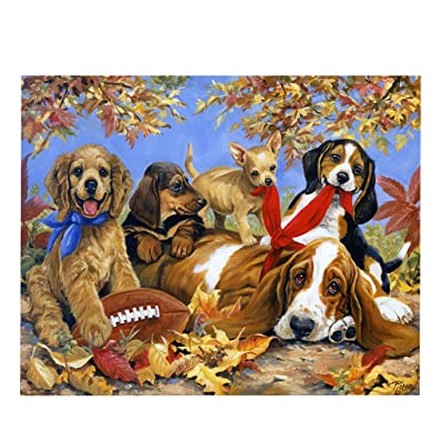 Hmlai Clearance Puzzles for Adults 1000 Piece Large Puzzle, Vintage Paintings Landscape Jigsaw Puzzle, DIY Collectible Modern Home Decoration (B-Dog Puppy, Large Puzzle): Kitchen & Dining