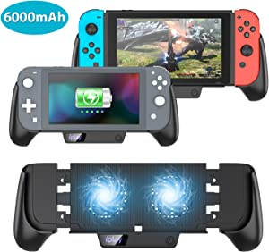 Charging GripStand with Cooling Fan for Nintendo Switch/Switch Lite,Protective 6000mAh Battery Charger Support, Silent Double Cooling Fans, Quick Charging Cooling Controller with Kickstand (Black)