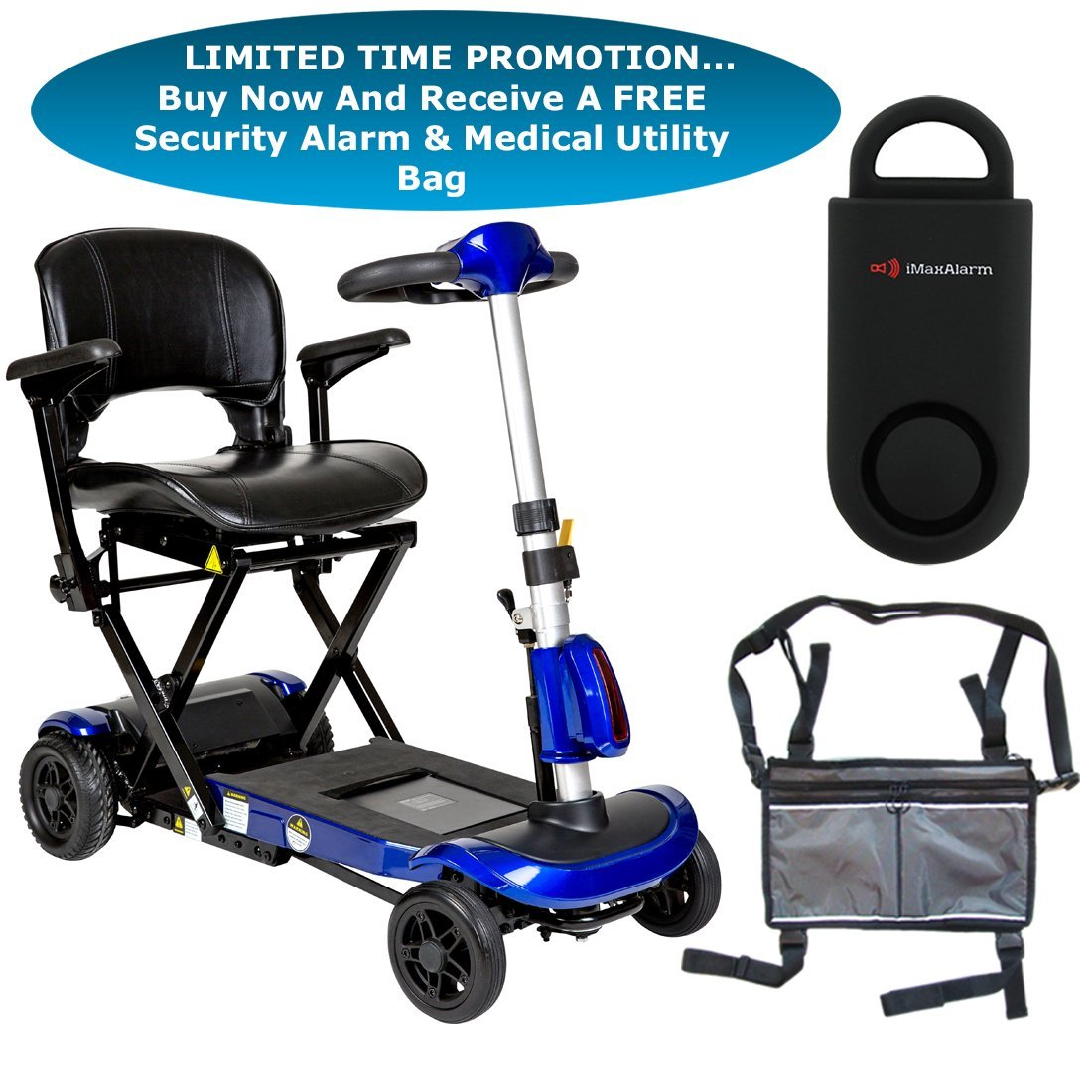 Drive ZooMe Auto-Flex Folding Travel Scooter, Blue & FREE 130 dB Black Personal Safety Alarm/Siren! + Silver Medical Utility Bag!