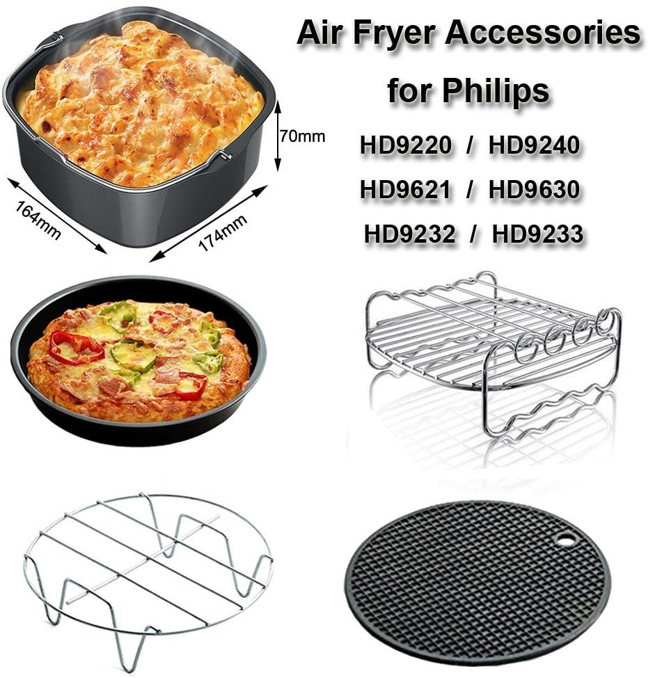 Universal Accesorios para Freidora Compatibles con Philips HD9220 HD9230 HD9240 HD9641 HD9642 e Aicok Freidora - Cake Barril, Pizza Pan, Grills, Brocheta Rack, Silicona Mat