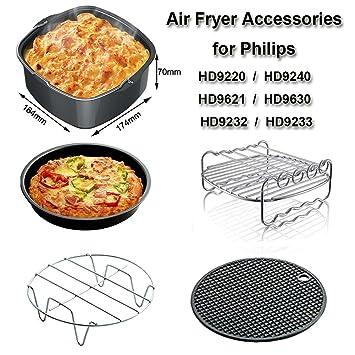 Universal Accesorios para Freidora Compatibles con Philips HD9220 HD9230 HD9240 HD9641 HD9642 e Aicok Freidora - Cake Barril, Pizza Pan, Grills, ...