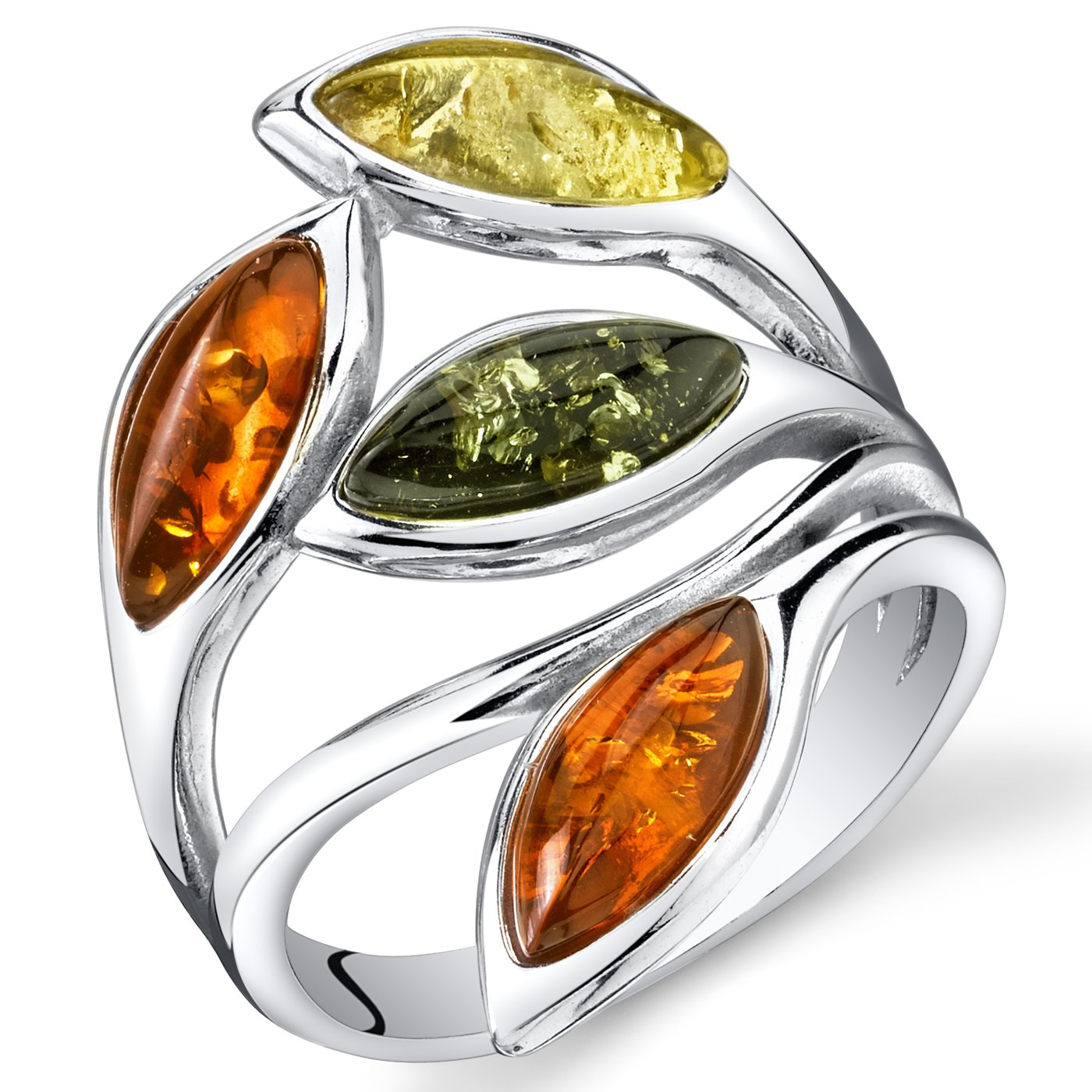 Baltic Amber Leaf Ring Sterling Silver Cherry Olive Honey Cognac Colors Size 7