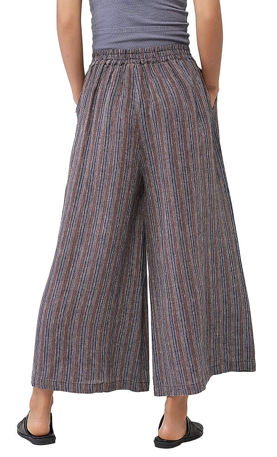 Les umes Womens Casual Loose Linen Plaid Elastic Waist Stripe Baggy Trousers Cropped Wide Leg Pants