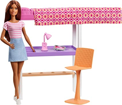 Letto A Castello Barbie.Amazon Com Barbie Doll And Furniture Set Loft Bed With