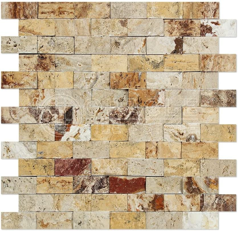 Valencia Travertine 1 X 2 Brick Mosaic Tile, Split-Faced (LOT of 5 SHEETS)