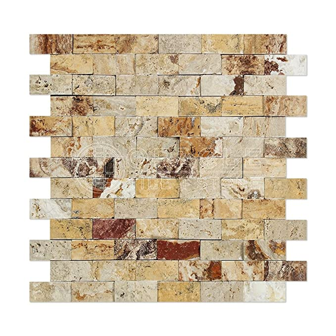 Amazon.com: Valencia Travertino 1 x 2 ladrillo mosaico ...