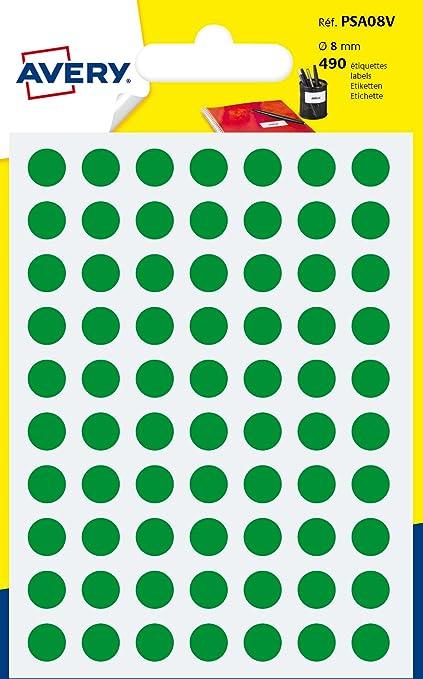Avery España PSA08V. Bolsa de 490 etiquetas adhesivas redondas color verde, 8 mm: Amazon.es: Oficina y papelería