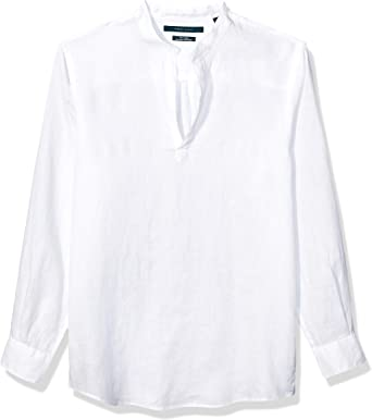 Perry Ellis – Camisa de manga larga sólido lino Popover para hombre: Amazon.es: Ropa y accesorios