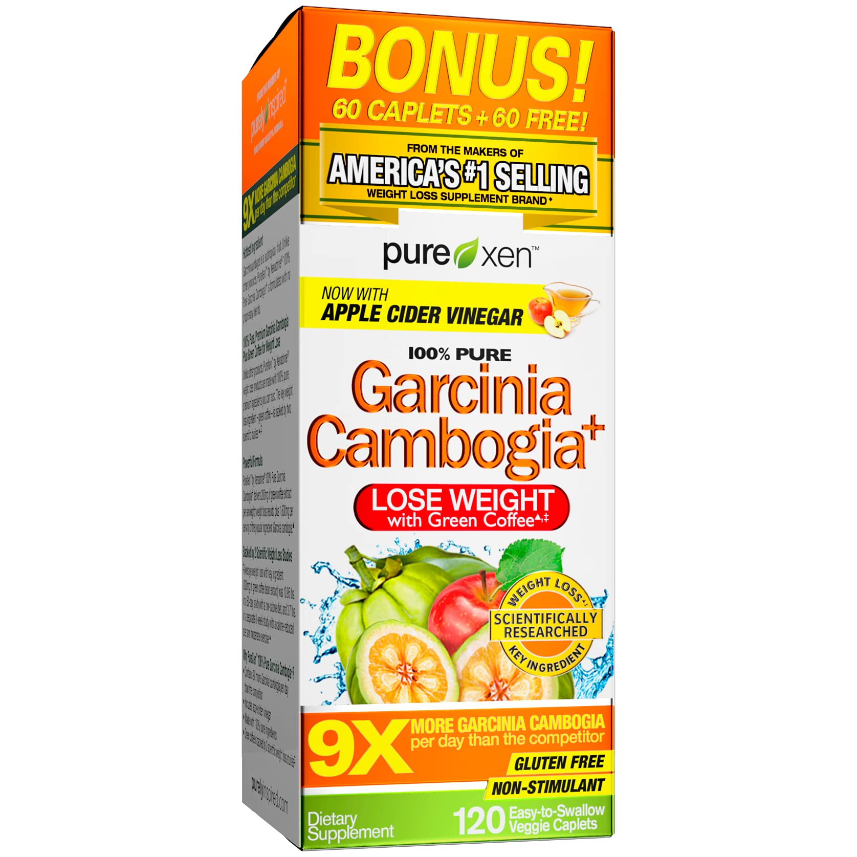 Garcinia Cambogia Weight Loss Pills for Women & Men Purely Inspired 100% Pure Garcinia Cambogia Featuring Apple Cider Vinegar Weight Loss Supplement Pills, 120 Pills (Packaging May Vary)