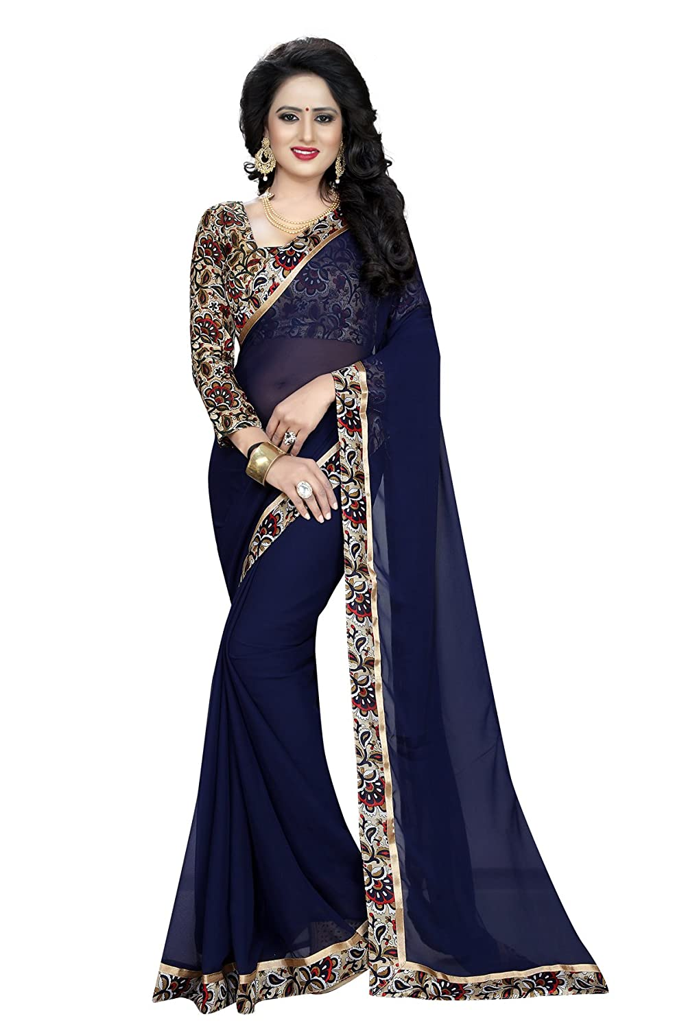Maahik Sarees Women's Blue Georgette Saree With Blouse Piece